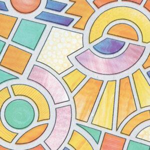 Витражно фолио мозайка цветна 67.5 см