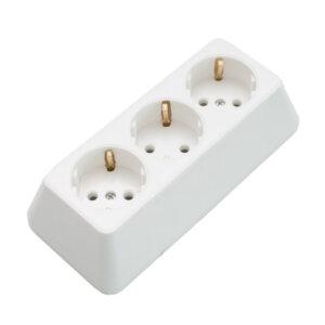 Разклонител троен без кабел бял