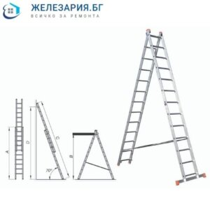 Алуминиева стълба двураменна комбинирана